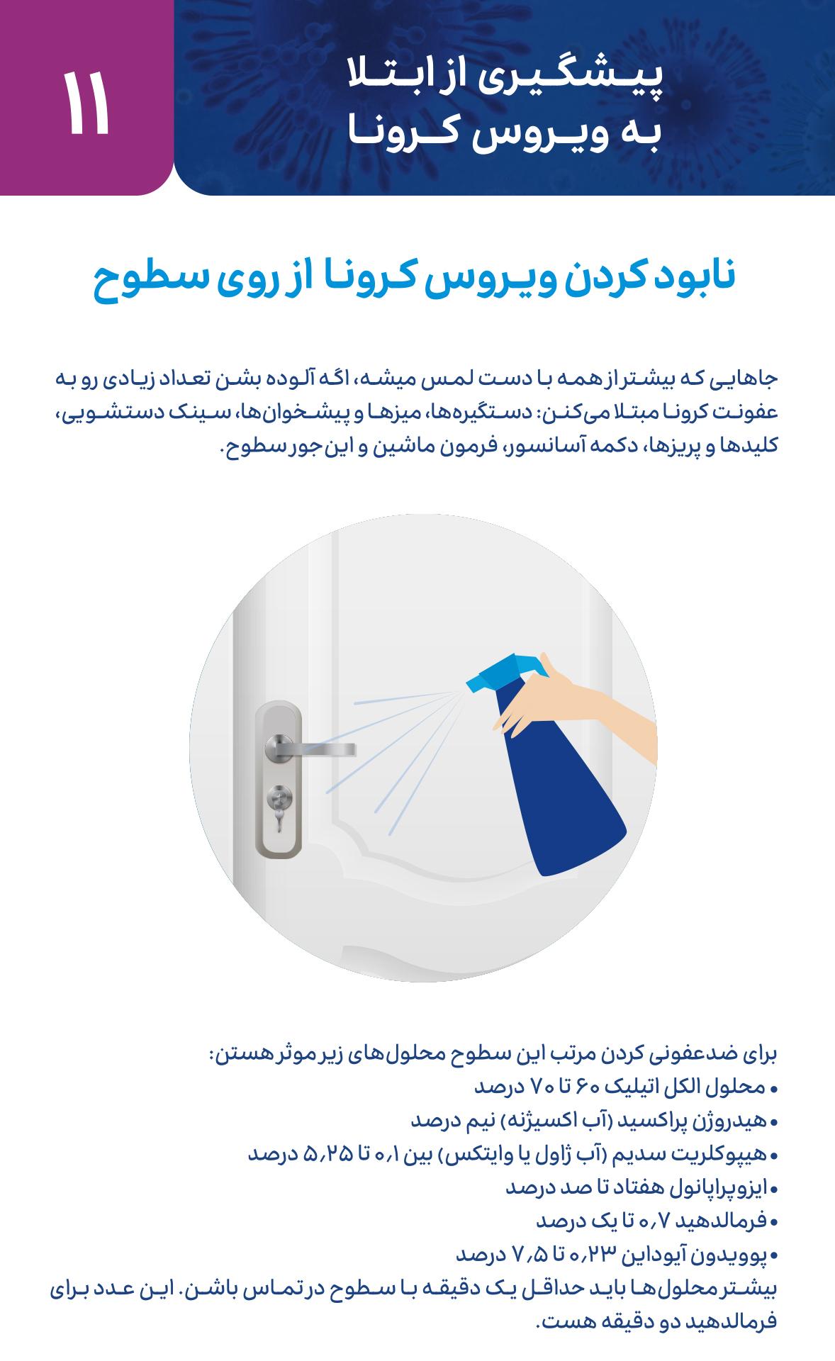 متخصص زنان اصفهان نابود کردن ویروس کرونا از روی سطوح